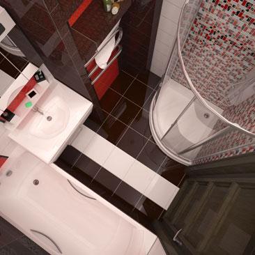 Бело-коричневый пол в небольшой ванной - фото интерьеров. Шоколадная плитка в ванной: проекты интерьеров. Глянцевая белая и шоколадная плитка в дизайне ванной комнаты - фото интерьеров. Дизайн интерьера Ванкувер. Дизайн домов и городских квартир в Ванкувере.