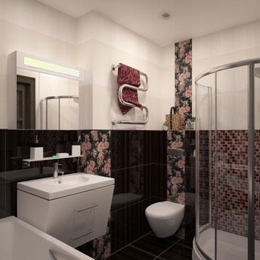 Сочетание мозаики и крупноформатной плитки - 1000 фото-идей. Мозаика в сочетании с обыкновенной плиткой - примеры дизайна интерьера. Темный низ - светлый верх в интерьере ванной комнаты. Белый верх, темный низ в дизайне ванной - фото интерьеров. Дизайн интерьера Виннипег.