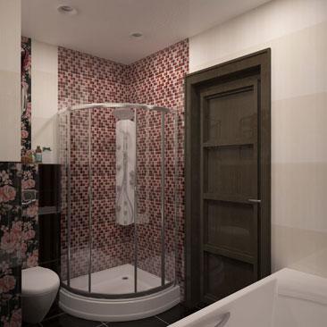 Интерьер и дизайн коричневой ванной - сочетание крупноформатной плитки и мозаики. Комбинирование мозаики и плитки в ванной комнате - примеры интерьеров с фото. Примеры сочетания мозаики с плиткой в ванных комнатах - фотогалерея. Дизайн интерьера Миссиссога.