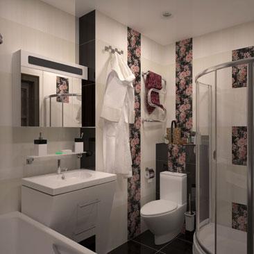 Ванная комната с розами - фото интерьеров. Дизайн интерьера санузла и с ванной, и душевой кабиной и с унитазом. Дизайн ванных комнат с обычным напольным унитазом - фото интерьеров. Дизайн интерьера Оттава. Дизайн-студии интерьеров в Оттаве.