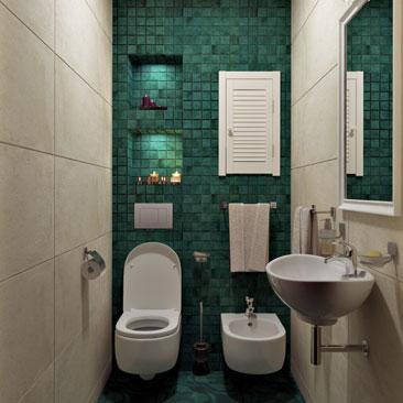 Дизайн туалета маленького размера с подвесным унитазом, биде и раковиной - фото интерьеров. Проекты туалетных комнат небольшого размера с мозаикой и подвесной сантехникой - фотогалерея. Дизайн интерьера Бристоль.
