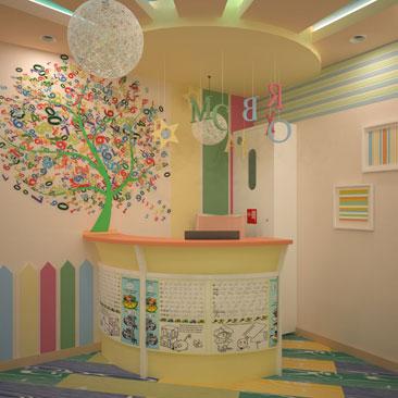 Стойка-ресепшн для детского сада фото в интерьерах. Красивые интерьеры детских садов, центров и семейных клубов - фотогалерея. Дизайн детского сада Барнаул. Дизайн детского клуба раннего развития в Барнауле. Дизайн интерьера ресепшн в детском центре.