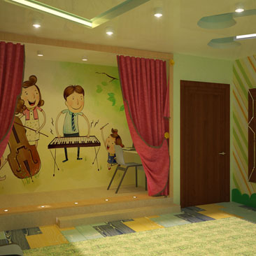 Дизайн театрального зала в детской школе раннего развития фото интерьеров и идей. Дизайн театрально-музыкального кабинета в детском центре развития для дошкольников. Дизайн детского сада Новосибирск. Дизайн детсада в Новосибирске.
