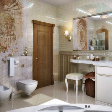Фотогалерея проектов дизайнеров ванных комнат.