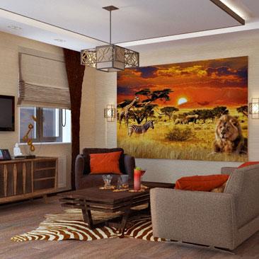 """Гостиная в афро стиле с фотообоями """"африканский пейзаж"""" и шкурой зебры на полу. Дизайн интерьера г. Дубна Московской области."""