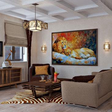 Фреска со львами в раме в гостиной в Африканском стиле. Лев и львица в интерьере кухни-гостиной фото. Дизайн со львами в интерьере - фото гостиной с кухней. Дизайн интерьера г. Долгопрудный Московской области.