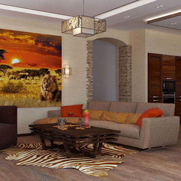 Стиль сафари в интерьере и дизайне кухни-гостиной. Африканский стиль «Сафари» в интерьере кухни-гостиной. Дизайн интерьера г. Домодедово в московской области.