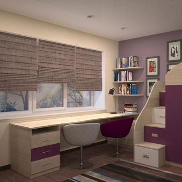 Дизайн детской для 2 детей с 2 рабочими столами под широким окном. Дизайн детской для 2 ребят фото и идеи стиля и декорирования. Дизайн интерьера г. Павлово Нижегородская область
