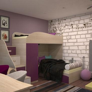 Дизайн детской с двухъярусной кроватью со ступеньками-ящиками на второй ярус фото.Дизайн интерьера г. Кстово Нижегородская область