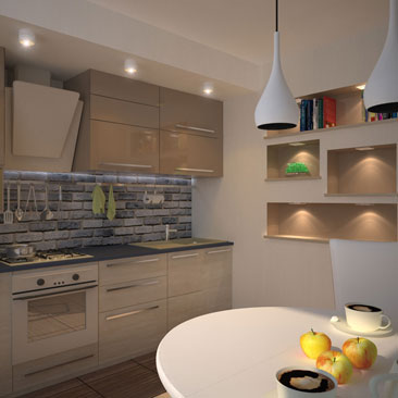 фото кухни с бежевым фартуком