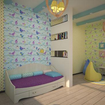 Дизайн и интерьер детской комнаты и игровой в одном помещении.