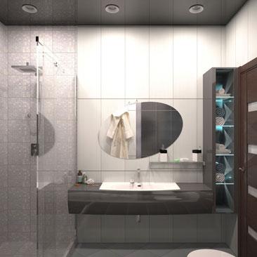"""Интерьер ванной комнаты - более 300 фото. Дизайн ванной фото галерея готовых проектов от """"Поиск Интерьерных Решений""""."""
