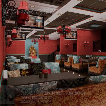 Идеи оформления интерьера кафе и ресторанов, идеи для оформления ресторана. Интерьер ресторана в восточном стиле в красных оттенках. Дизайн интерьера кафе в Нижнем Новгороде.