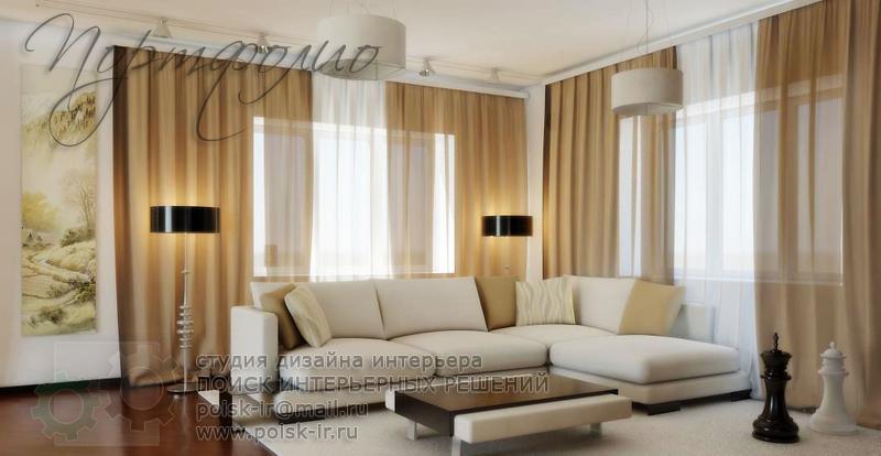 Угловая комната с двумя окнами дизайн интерьера