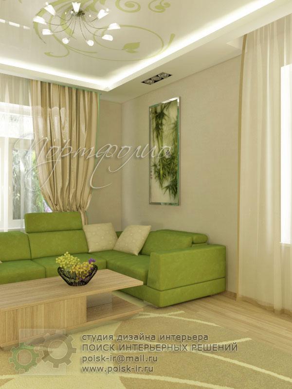 Интерьер с зеленым диваном