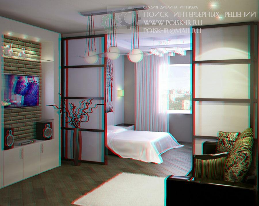 Дизайн спальни разделенной на зоны
